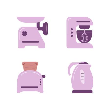 meat chopper: Kitchen appliances. Flat icon set in color Illustration