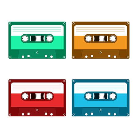 audio cassette: Audio cassette tape. Isolated on a white background. Flat illustration