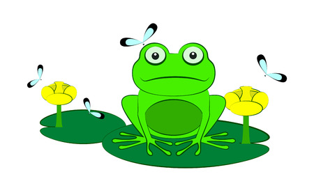 Green frog among water lilies and dragonflies. Isolated on a white background