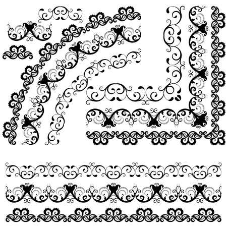 contour: Floral design element. Contour border. Ethnic motifs