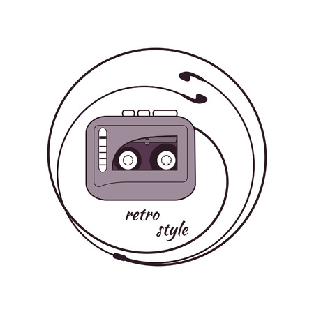 earphones: Cassette player with earphones. Round color badge Illustration