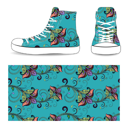 snickers: Sneakers with seamless flower pattern, vector illustration isolated on white background.