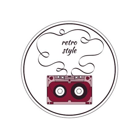 audio cassette: Audio cassette. Round color badge Illustration