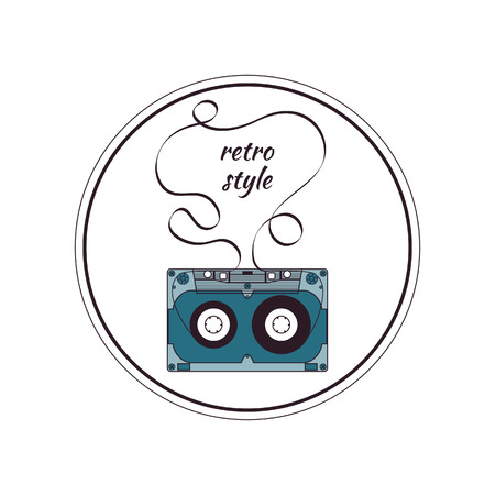 compact cassette: Audio cassette. Round color badge Illustration