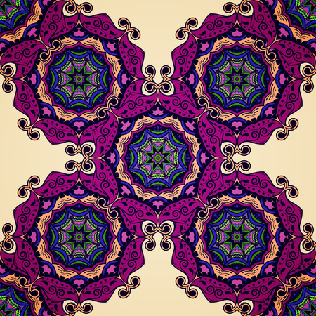 Vector seamless pattern with circular oriental ornament