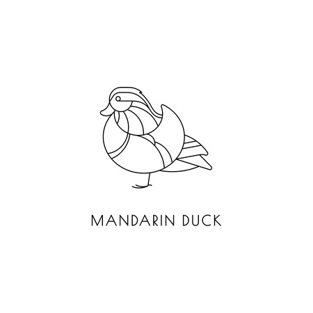 Mandarin duck outline icon