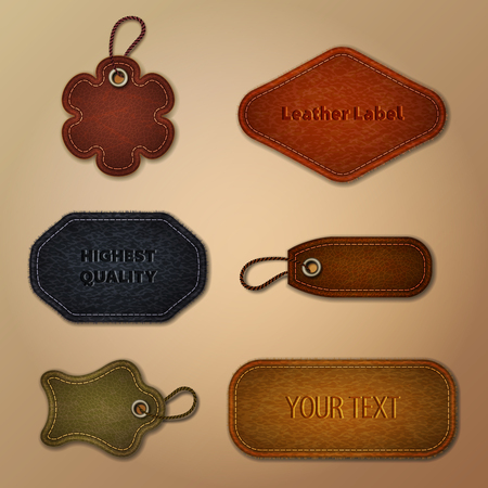 Leather set collection. Tags and labels, vector image