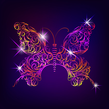Butterfly with decorative ornamental pattern in doodle style