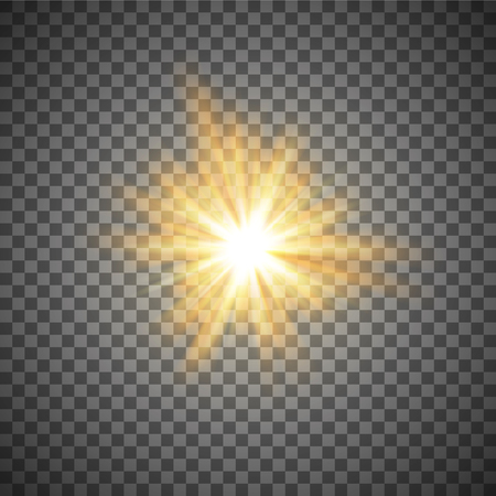 gold shining star or flash isolated on a transparent background