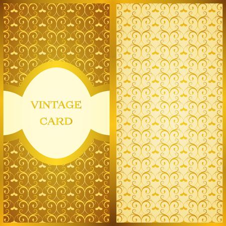 Vintage card set. Floral ornamental pattern, vector image