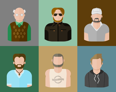 Man, informal style, set of avatars in a flat style.