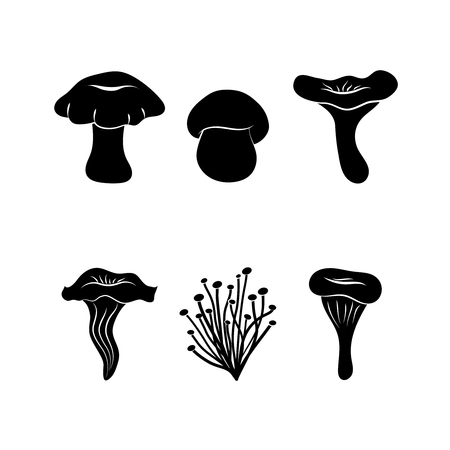 Different types of mushrooms, silhouettes isolated on white background