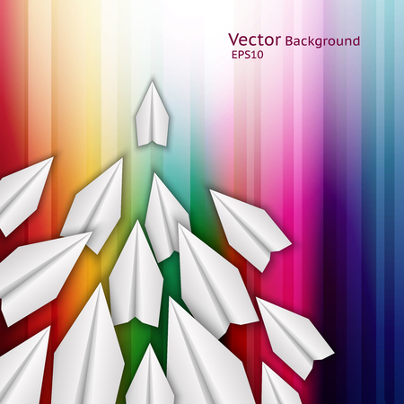 Abstract business background with paper airplanes and rainbow stripes.