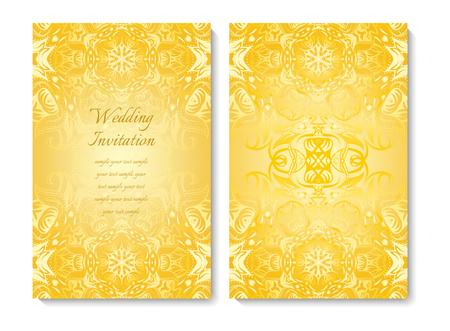 Wedding card or invitation. Gold ornamental pattern