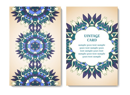 Vintage card or invitation with blue ornamental round pattern