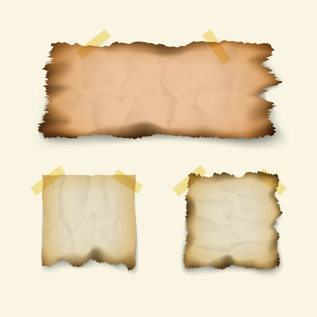 Note paper. Crumpled, burnt, old texture, scraps of square and rectangular shapes, isolated on white background