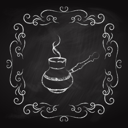 Coffee maker icon, drawn in chalk on a blackboard.
