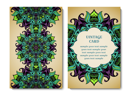 Vintage card or invitation with ornamental round pattern.