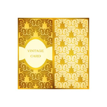 Vintage card set. Floral ornamental pattern