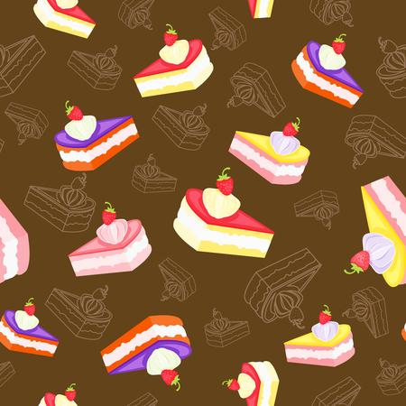 Colored tasty pieces of cream cake on dark background, seamless pattern. Ilustração