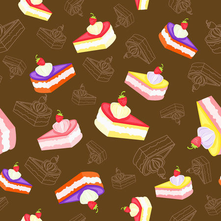 Colored tasty pieces of cream cake on dark background, seamless pattern. Vettoriali