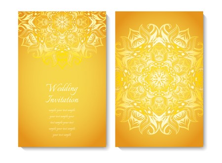 Wedding card or invitation. Gold ornamental pattern