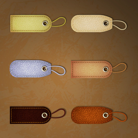 Leather labels set. Tags and labels vector illustration. Ilustração
