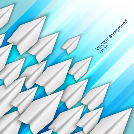 Abstract business background with paper airplanes and rainbow stripes
