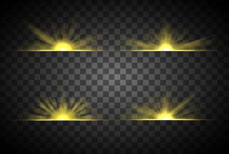 日の出、太陽の光は透明な背景に隔離して設定します。  イラスト・ベクター素材