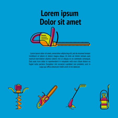 Gardening power tools poster vector illustration