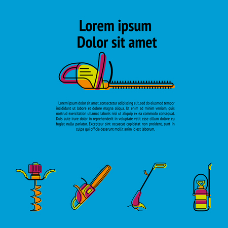 Gardening power tools poster vector illustration