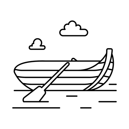 Rowing boat, line icon isolated on white. Vector illustration.