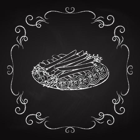 French fries, drawn chalk on a blackboard, icon for the restaurant cafe menu Фото со стока - 100181857