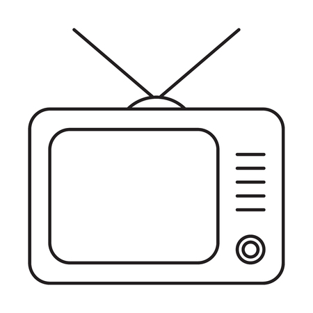 Line icon TV isolated on white Illustration