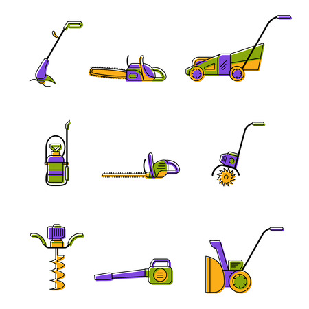 Badges of gardening power tools for flyer or leaflet. Technique for garden and lawn care