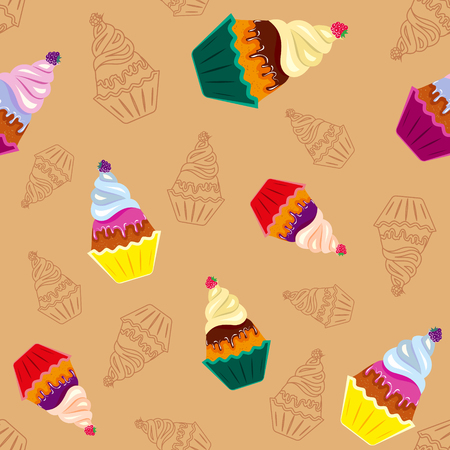 Colored tasty cupcakes, seamless pattern