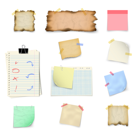 Paper templates for notes square and rectangular vertical shape, isolated on white background