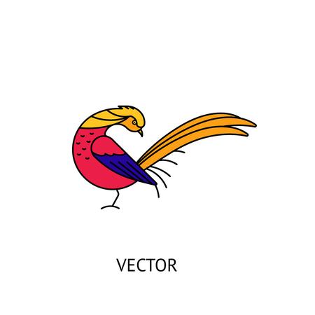 Golden pheasant bird icon. Vector logo isolated on white
