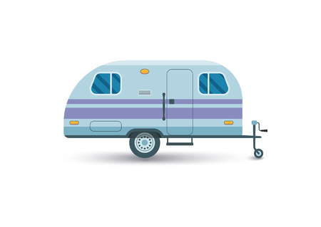camping trailer flat icon isolated on white Illustration