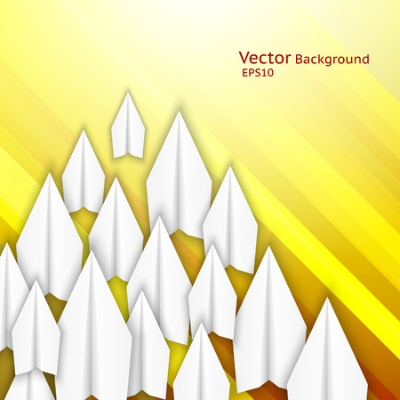 Abstract business background with paper airplanes and yellow stripes