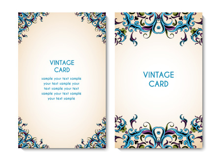 Vintage card or invitation with ornamental floral pattern