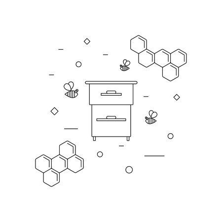 beekeeping, bees and beehive. Vector linear icon for print , web site, flyer
