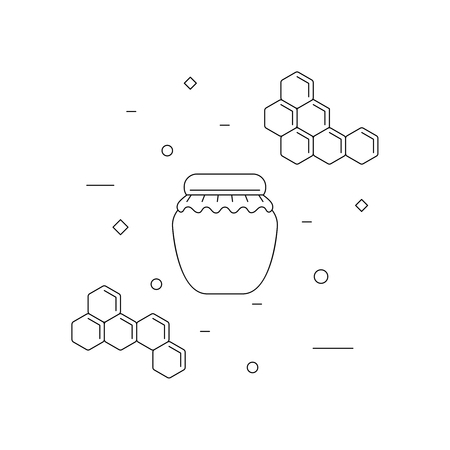 Jar of honey and honeycomb line icon, isolated on white