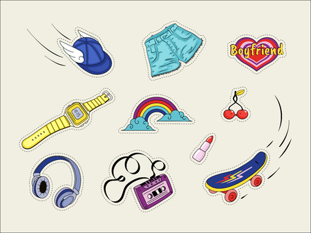 Set of patches with fashion badges retro style icons 80s, isolated on white Illustration