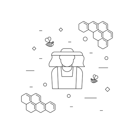Beekeeper, linear icons isolated on white background