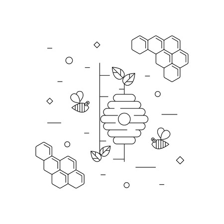 wild honey, bees and beehive on the tree. Vector linear icon for print , web site, flyer