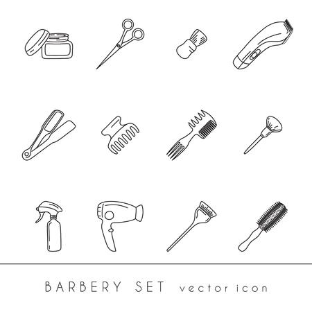 Collezione Barbershop isolato su sfondo bianco. Icone vettoriali Vettoriali