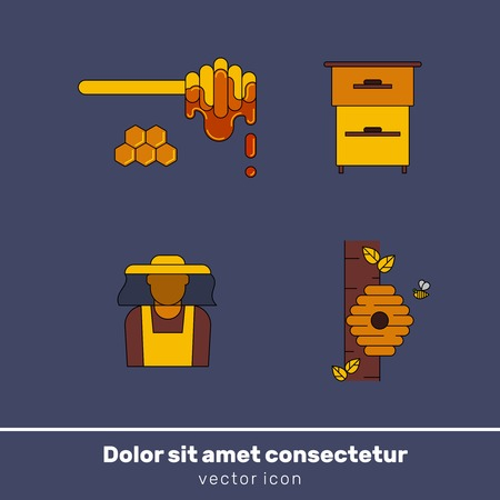 honey vector colour icons for print , web site, flyer