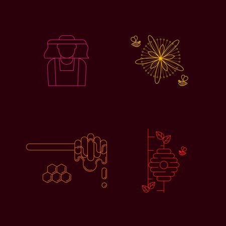 honey vector linear icons for print , web site, flyer