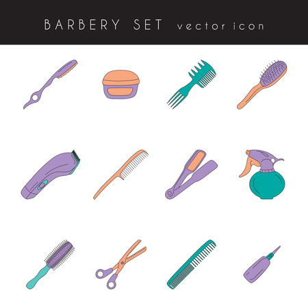 Barbershop collection isolated on white backdrop. Vector icons Stock Vector - 119283807